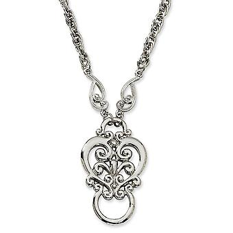 Silver tone Fancy Lobster Closure Fancy Scroll Eyeglass Holder Necklace Jewelry Gifts for Women