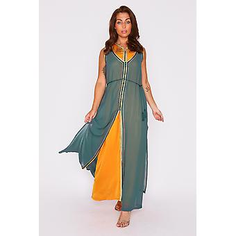 Kaftan sirina sleeveless layered maxi dress with rope belt in green and yellow gold