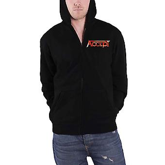 Accept Hoodie Flying V Band Logo Back Print new Official Mens Black Zipped