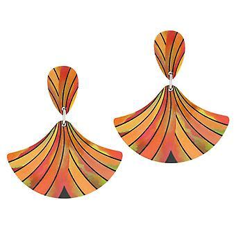Eternal Collection Fandango Orange Multicolored Stripe Aluminium Drop Boucles d'oreilles percées