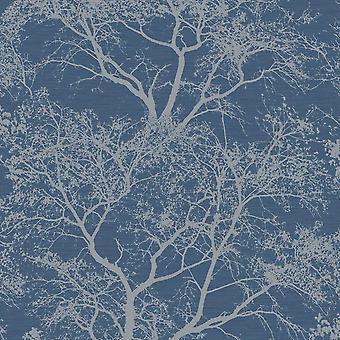 Whispering drzewa tapeta ciemny niebieski Glitter teksturowane Sparkle Las Holden