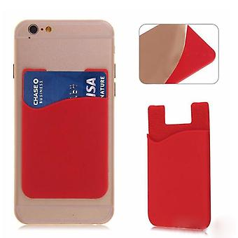 2x Silicone sock wallet card cash pocket sticker red