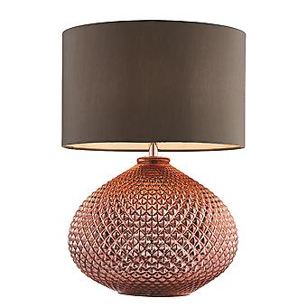 Endon Livia 1 Light Table Lamp Copper Plated Glass, Grey Faux Silk 77097