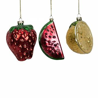 Widdop Gifts 3 Glass Fruit Christmas Baubles | Handpicked Gifts