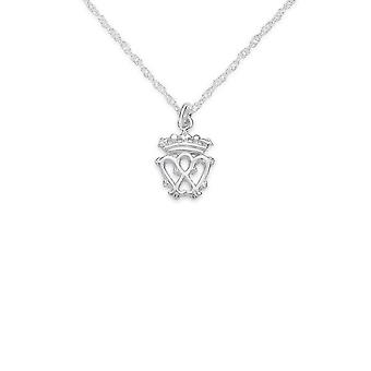 "Luckenbooth Love And Loyalty Twin Love Hearts Surmounted Crown Of Mary Queen Of Scots Necklace Pendant - Includes A 16"" Silver Chain"