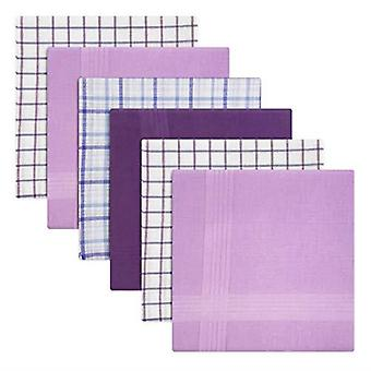 Mens/Gentlemens Handkerchiefs 100% Cotton Purple Check & Dyed Designs, Gift Boxed