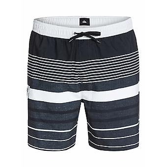Quiksilver YG Stripe Volley Mid Length Board Shorts in Black