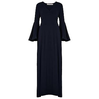Valley of the Dolls Long Sleeve Vallejo Fluted Sleeve Maxi Dress Navy
