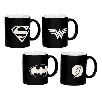Justice League 4-series cup set Logos Collector's Edition white-black, laser engraving, made of ceramic, in gift wrapping.