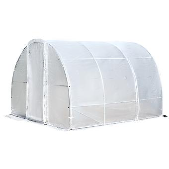 Outsunny Portable Polytunnel Greenhouse Walk-In Plant House Shelter w/ Latched Door Steel Frame Gorund Stakes 200x300cm