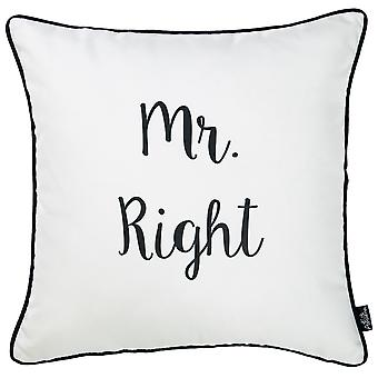 "18""x18"" Skandi Mr. Right Decorative Throw Pillow Cover Printed"