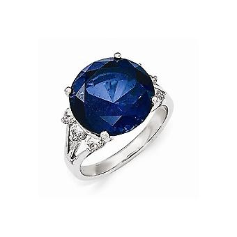Cheryl M 925 Sterling Silver Aaa Cubic Zirconia and Simulated Sapphire Ring Jewelry Gifts for Women - Ring Size: 6 to 7