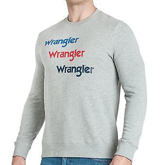 Wrangler Mens Seasonal Logo Casual Pullover Jumper Sweatshirt Top - Grey Melange