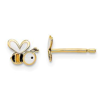14k Madi K Emalj Bumble Bee Post Örhängen Smycken Gåvor för kvinnor - 0,4 gram