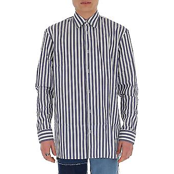 Maison Margiela S30dl0472s52607003f Men's White/blue Cotton Shirt