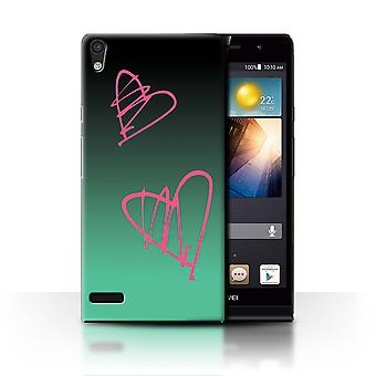 STUFF4 Case/Cover for Huawei Ascend P6/Pink Hearts/Abstract Ombre