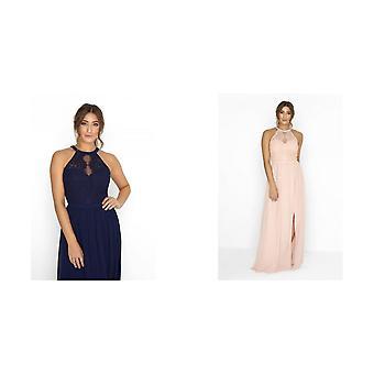 Little Mistress Womens/Ladies Halterneck Eyelash Lace Maxi Dress