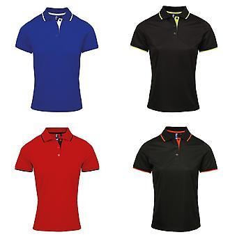 Camisa de Polo de contraste de mujeres/damas Premier Coolchecker