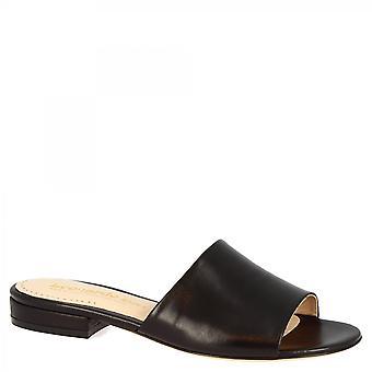 Leonardo Sko Kvinner's håndlagde åpne muldyr sandaler i svart napa skinn
