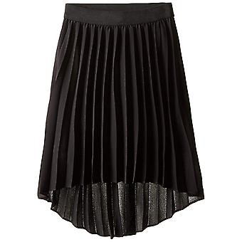 Amy Byer Girls' Picture Perfect High-Low Pleated Chiffon, Black, Size Small