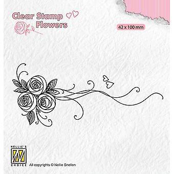 Nellie's Choice Clear postimerkit Kukat Kimppu ruusut-1 FLO020 42x100mm