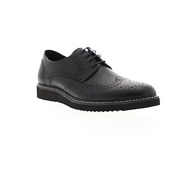 Zanzara Siena  Mens Black Leather Casual Lace Up Oxfords Shoes