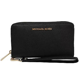 Michael kors jet set travel large phone wristlet black saffiano leather wallet