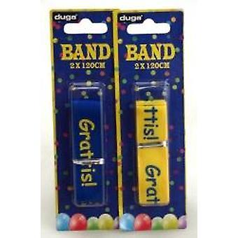Band Student Bursdag blå/gul med tekst Gratulerer 2-pakning