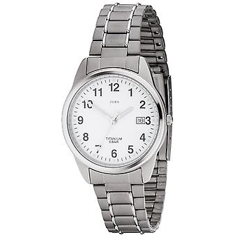 JOBO homens relógio quartzo analógico titânio data Black watch