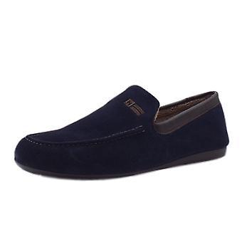 Nordikas 1390 Alvaro Men's Luxury Moccasin Slippers In Navy Suede