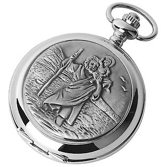 Woodford St Christopher Chrome Plated Full Hunter Quartz Pocket Watch - Silver