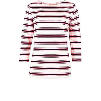 Bianca Navy & Pink Striped Top