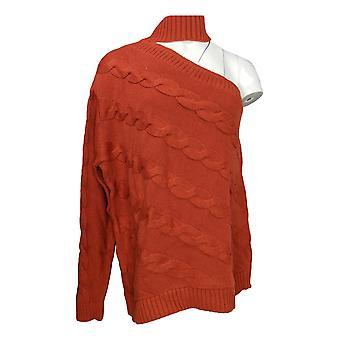 G.I.L.I. got it love it Women's Plus Sweater One Shoulder Orange A344888