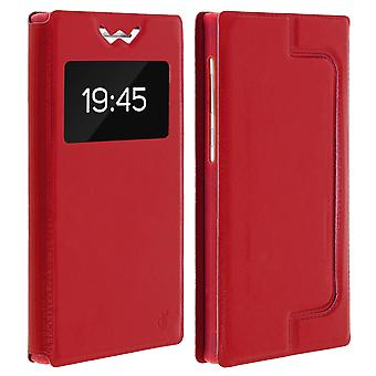 Smartphone Case 5,4'' Card Holder Window Video stand,slide Red