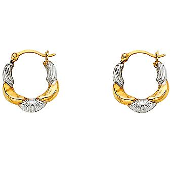 14k Yellow Gold and White Gold Fancy Hollow Hoop Earrings 13x13mm Jewelry Gifts for Women - .5 Grams