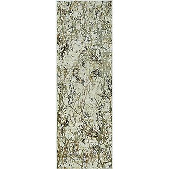5' x 8' Ivory or Gold Abstract Brushstrokes Viscose Indoor Area Rug