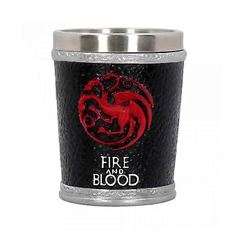 Game of Thrones Shot Glass Fire and Blood Logo new Official Hand Painted Black