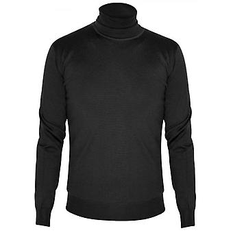CC Collection Corneliani Black Knitted Rollneck Sweater