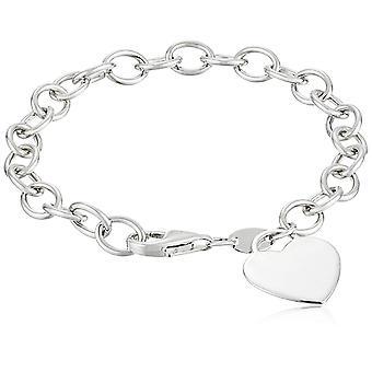 """Pulsera de etiqueta de corazón de plata de ley, 7.5"""", plata, tamaño 7.5"""