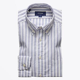 Eton - Streifen Twill Shirt - blau/weiß