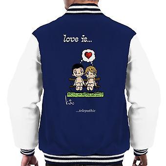 Love Is Telepathic Men's Varsity Jacket