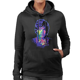 TV Times David Essex Portret Pop Art Gestileerde Women's Hooded Sweatshirt