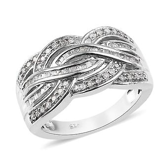 White Diamond Crossover Ring Platinum Plated Sterling Argent , 0,5 Ct TJC