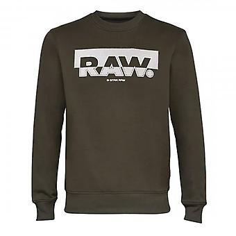 G-Star G- Star Raw Block Raster Logo Crew Sweatshirt Dark Green D17897