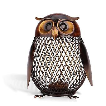 Owl Metal Piggy Coin Bank - Home Decoration Figurines Craft, Christmas