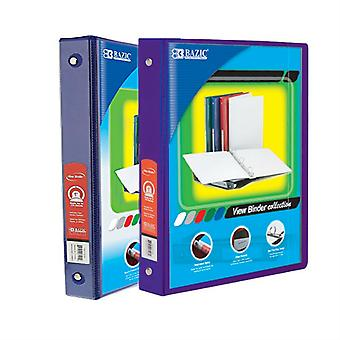 Combo54, BAZIC 1 Inch 3-Ring View Binder with 2-Pockets (Case pack of 24 consist 12-Blue & 12-Purple)