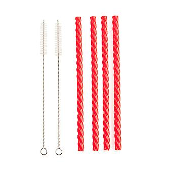Cherry Red Reusable Silicone Straws (Set of 4)