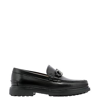 Salvatore Ferragamo 0735190 Heren's Black Leather Loafers