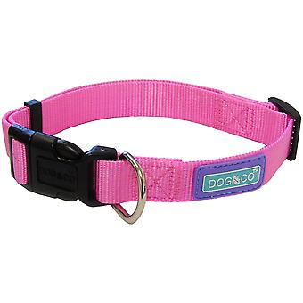 Dog & Co nylon verstelbare halsband - Roze - 19mm x 35- 46cm