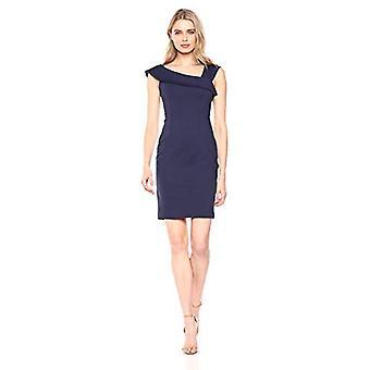 Lark & Ro Women's Asymmetrical Flounce Neckline Sheath Dress, Midnight Blue, 16